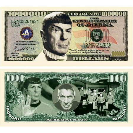 "Leonard Nimoy Star Trek Million Dollar Bills with Bonus ""Thanks a Million"" Gift Card Set and Clear Protector ()"