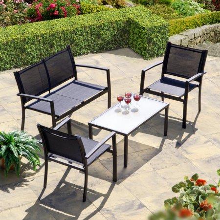 Brasilia Garden Set Black Textilene ( set includes bench, 2 chairs and a table) ()