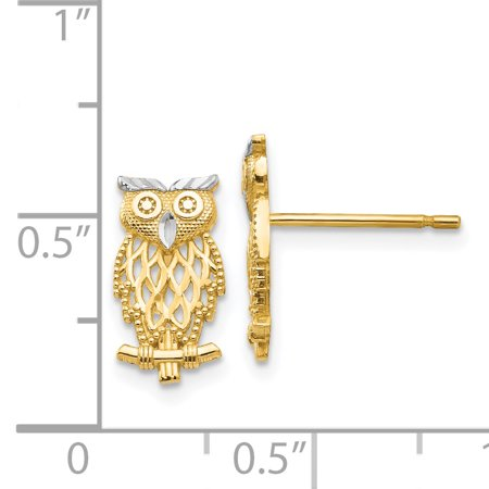 14k Yellow Gold Cut Out Owl Post Stud Earrings Animal Bird Fine Jewelry Gifts For Women For Her - image 2 de 7