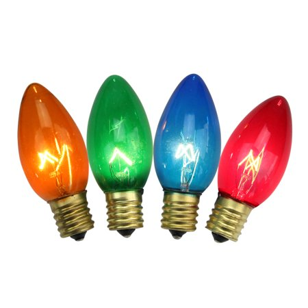 Pack of 4 Transparent Blue C9 Replacement Christmas Light Bulbs ()