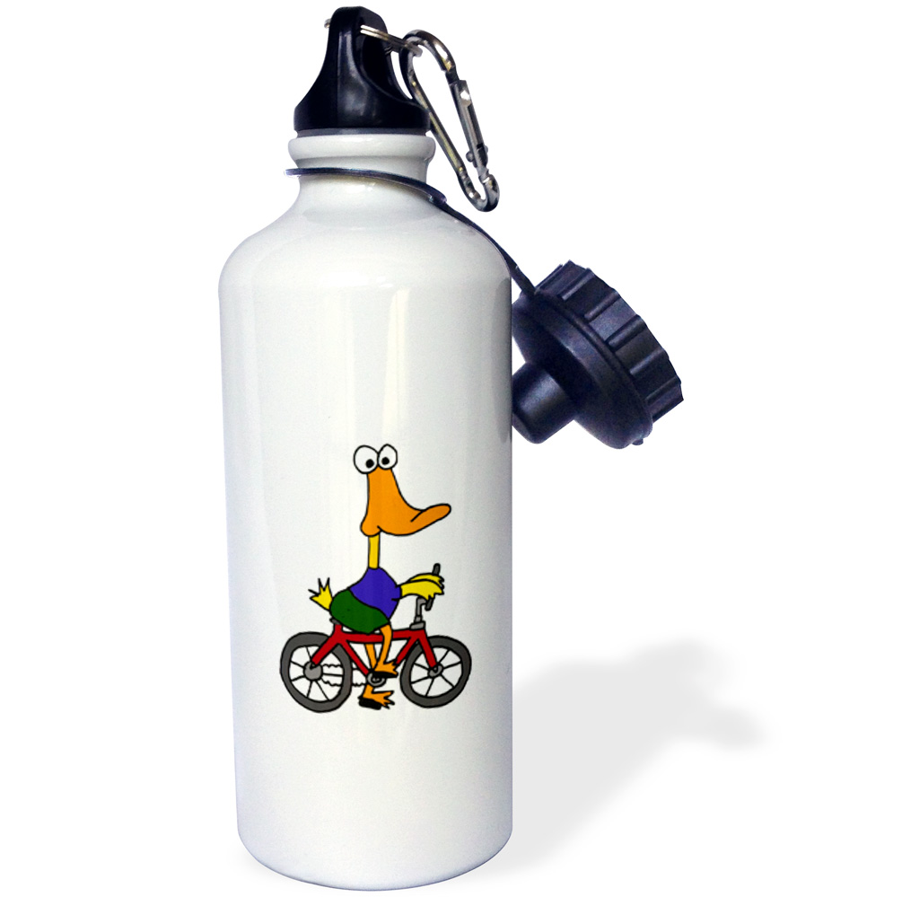 3dRose Funny Duck Riding Bicycle, Sports Water Bottle, 21oz