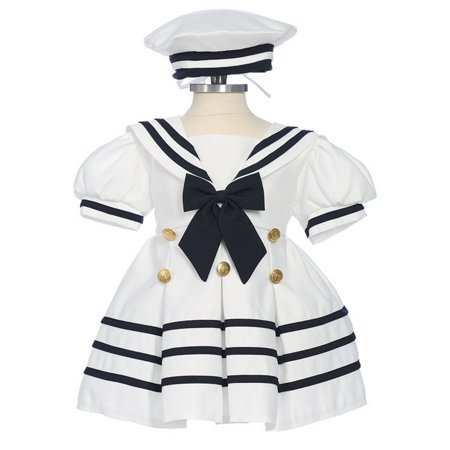 Baby Girls White Navy Bow Dress Hat Sailor Outfit 3-24M](Navy Dresses For Girls)