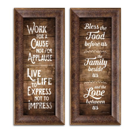 Gango Home Decor Country-Rustic Bless the Food Before Us & Work for a Cause by Susan Ball (Ready to Hang); Two 6x18in Gold Trim Framed Prints (Obama God Bless America)