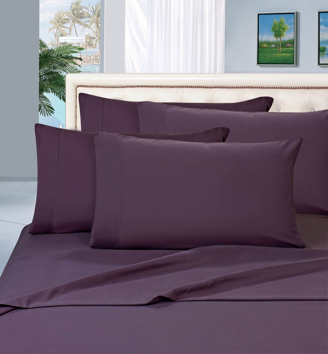"WRINKLE & FADE RESISTANT 1500 THREAD COUNT Egyptian Quality Luxury 4 pc Sheet SET, Deep Pocket Up to 16"" - All Size and Colors , Queen, Purple, 1 Flat.., By Elegant Comfort"