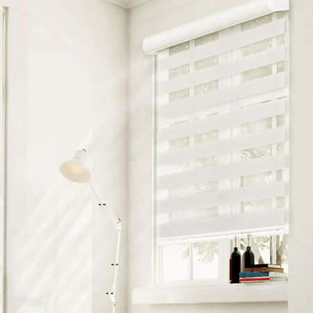 Chicology Free-Stop Cordless Zebra Roller Shades, Dual Layer Combi Window Blind (Dual Layer & (Shades Wood)