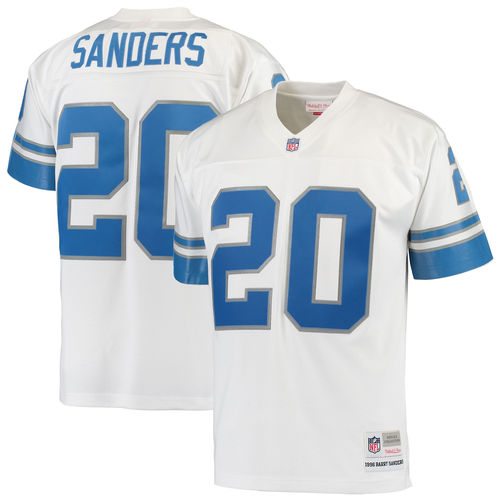 Men's Mitchell & Ness Barry Sanders White Detroit Lions Replica Retired Player Jersey