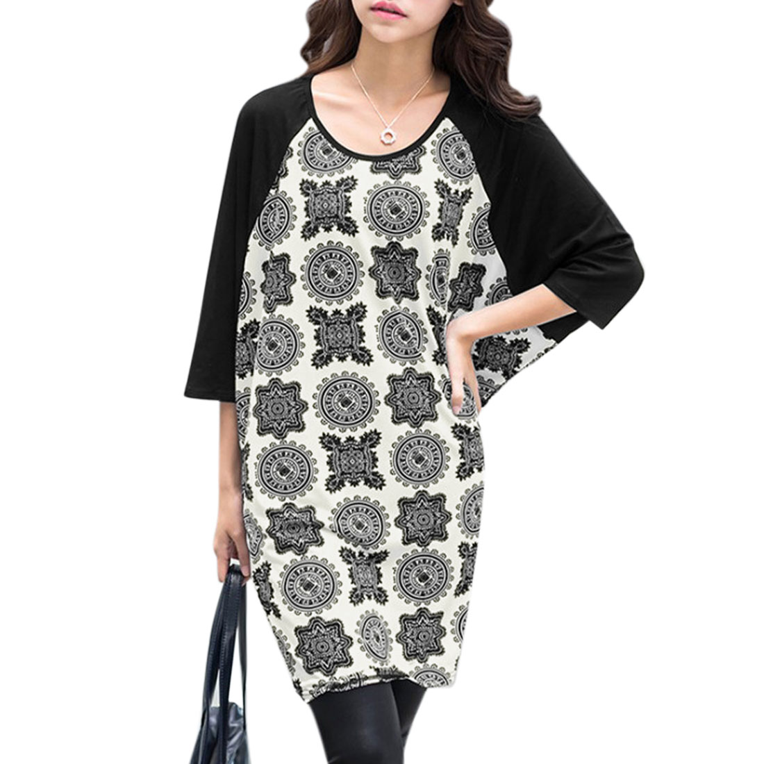Allegra K Women's Short Batwing Sleeves Novelty Print Loose Tunic Tops White Black (Size S / 4)