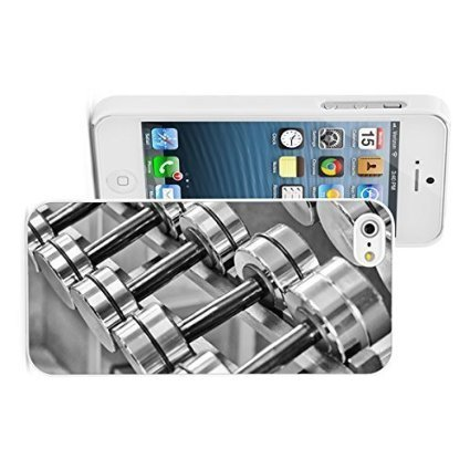 Apple iPhone 6 6s Hard Color Back Case Cover Protector Silver Dumbbells Weights (White)