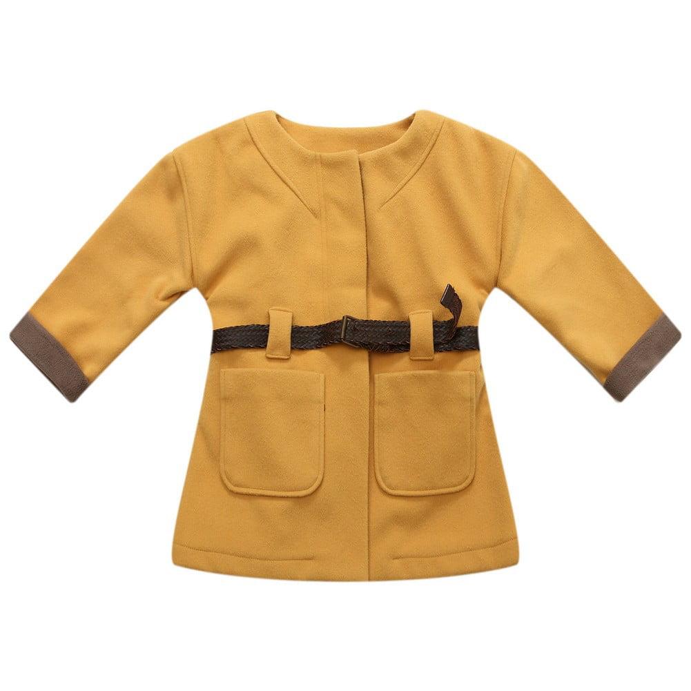 Richie House Little Girls Orange Brown Contrast Braided Belt Fashion Coat 2 - 6