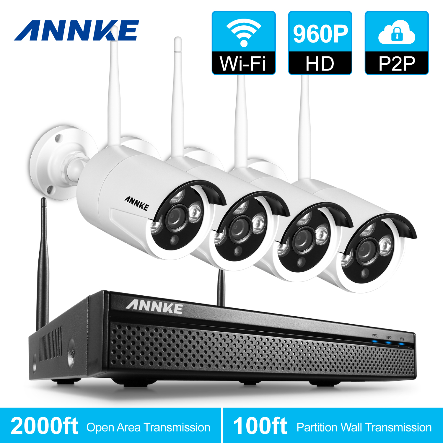 ANNKE 960P HD 4 Cameras 4CH Wireless Security System DVR 1.3MP Bullet Cam Surveillence Kit With No Hard Drive Disk