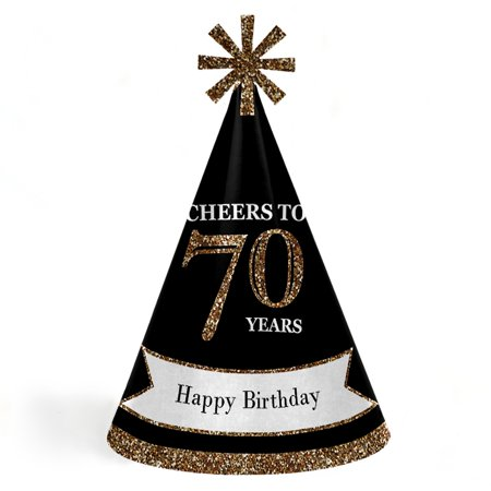 Adult Birthday Hats (Adult 70th Birthday - Gold - Cone Birthday Party Hats - Set of 8 (Adult)