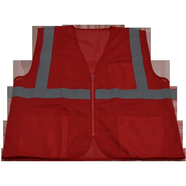 RVM-S1-4X-5X 2 in. Red Mesh Vest Reflective Tape 3 Pockets Zipper Front, 4X & 5X - image 1 of 1