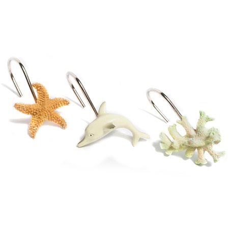Ocean Paradise Dolphin Coral Starfish Hand Crafted Shower Curtain Hook Set of 12