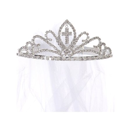 Kids Dream Girls Cross First Communion Veil Tiara Crown