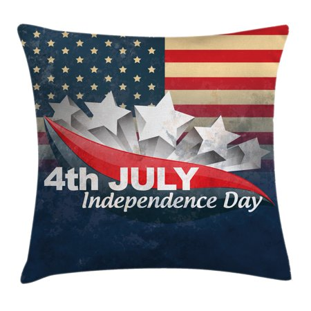 4th of July Decor Throw Pillow Cushion Cover, American Soldiers Standing with US Flag War Save Country Hero Liberty Display, Decorative Square Accent Pillow Case, 16 X 16 Inches, Multi, by Ambesonne (Us Flag Display Case)