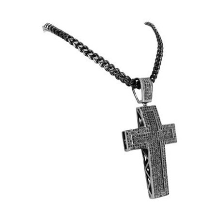 Black Gold Finish Micro Pave Fully Iced Out Mens Concave Cross Pendant Chain Set