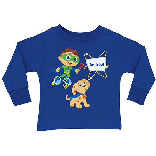 Personalized Super Why! & Woofster Blue Toddler Boy Long Sleeve Tee