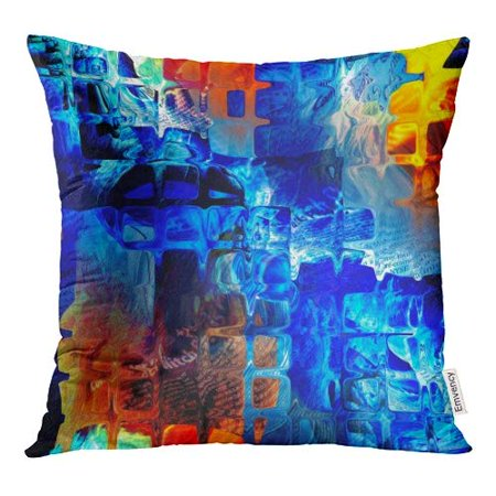 ECCOT Abstract Tiles in Bright Blue Red Orange Black and Gold Yellow Colors Pillow Case Pillow Cover 20x20 inch