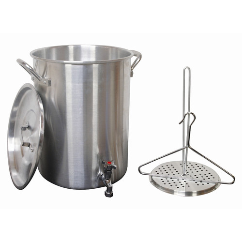 King Kooker 30 qt Aluminum Turkey Pot with Spigot Lid Lifting Rack and Lifting Hook