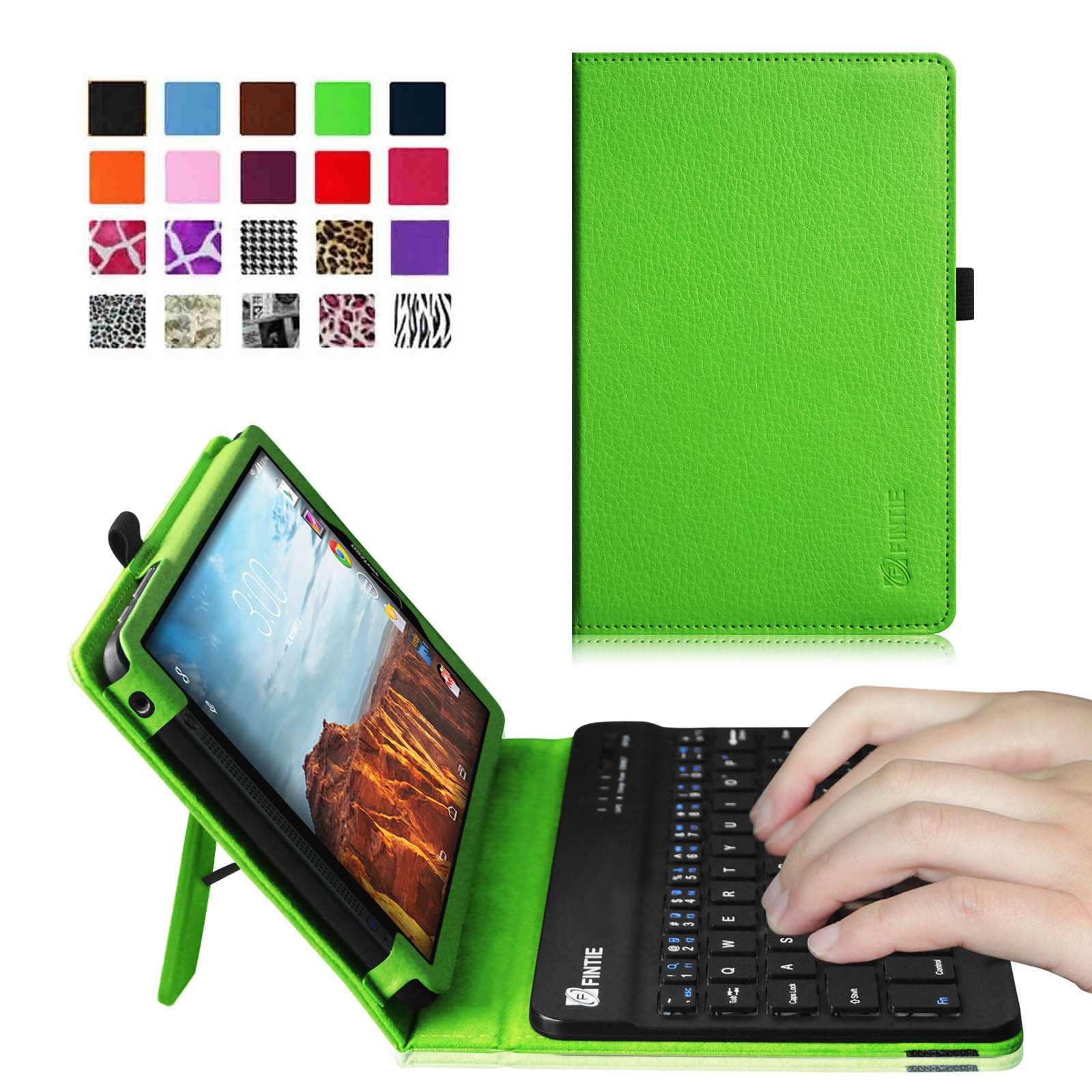 Verizon Ellipsis 8 4G LTE Tablet Keyboard Case - Fintie Slim Fit PU Leather Stand Cover with Removable Keyboard, Green