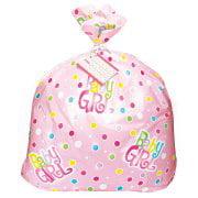 (3 Pack) Jumbo Plastic Polka Dot Girl Baby Shower Gift Bag, 44 x 36 in, Pink, 1ct
