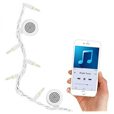 Bright Tunes Indoor/Outdoor White Incandescent String Lights with Bluetooth Speakers, White Cord