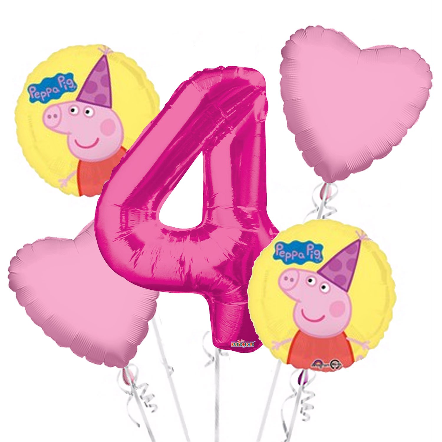 Peppa Pig Balloon Bouquet 4th Birthday 5 pcs - Party Supplies Pink, 1 Giant Number 4 Balloon, 34in By Viva Party