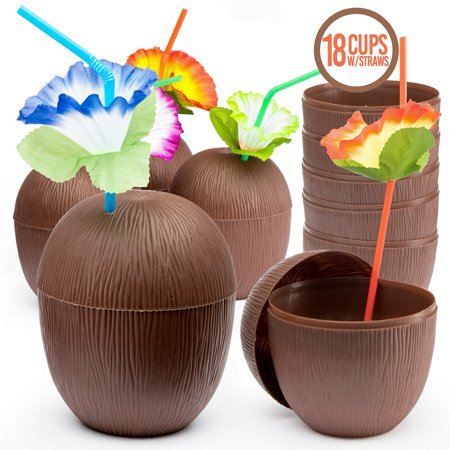 Prextex 18 Pack Coconut Cups for Hawaiian Luau Kids Party with Hibiscus Flower Straws - Tiki and Beach Theme Party Fun Drink or Decoration - Affordable Party Decorations