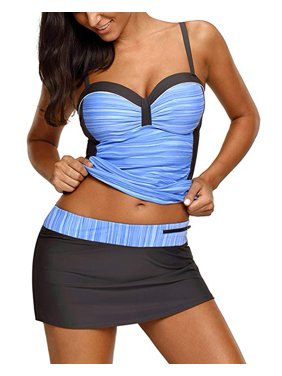 d62ef45e89a8a Product Image Women's Sweatheart Neck Color Block Ruched Tankini and  Skirted Swimsuit