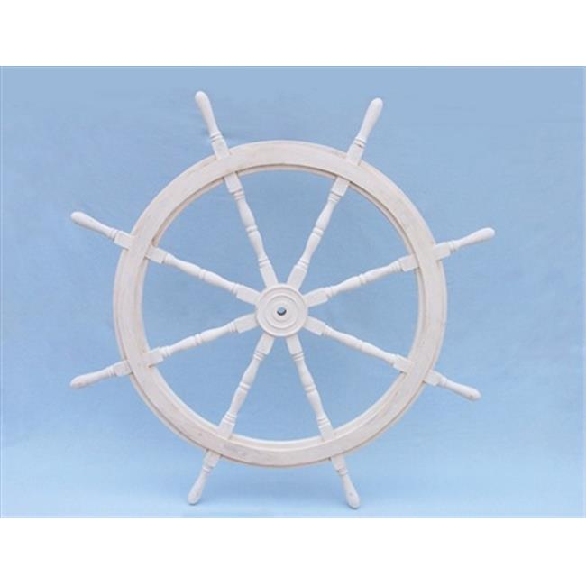 Handcrafted Model Ships SW-173148 Classic Wooden Whitewash Ship Steering Wheel 48 in. Decorative Accent