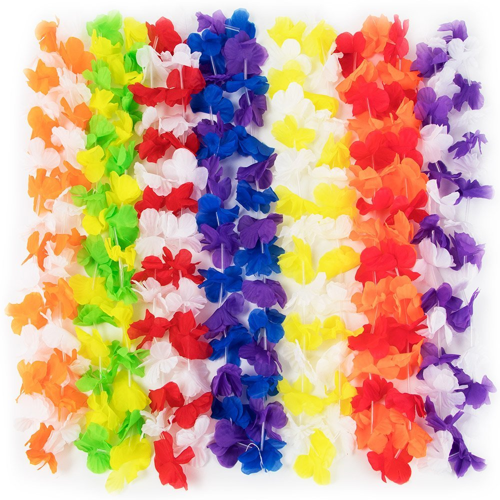 12-Pack Assortment of Colorful Hawaiian Lei Flower Necklaces by Pudgy Pedro's Party Supplies, IT'S TIME FOR A LUAU: 12 Assorted-colorful leis by Pudgy.., By Pudgy Pedros Party Supplies