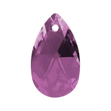 Swarovski Crystal, #6106 Pear Pendant 22mm, 1 Piece, Amethyst