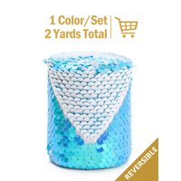 """LaRibbons 3"""" Reversible Sequin Ribbon Fabric Sewing DIY Hair Bow for Easter,Spring,Princess Birthday Fancy Craft - Princess Mineral Ice/Mermaid Blue"""