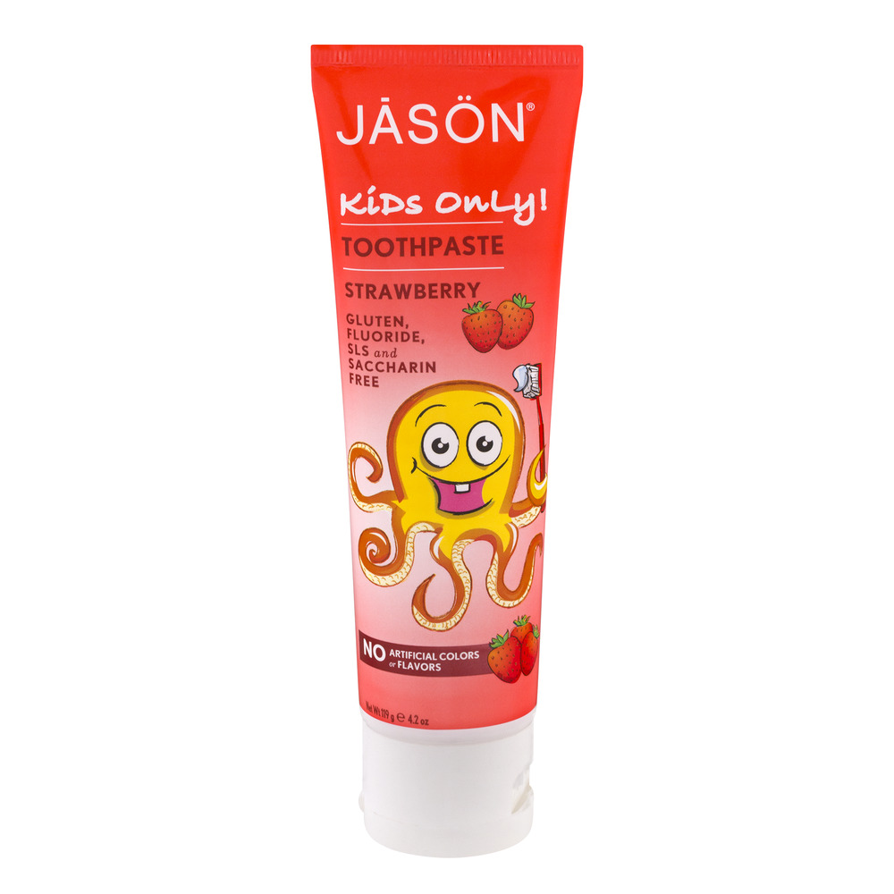 JASON Kids Only Fluoride-Free Strawberry Toothpaste, 4.2 oz. (Packaging May Vary)