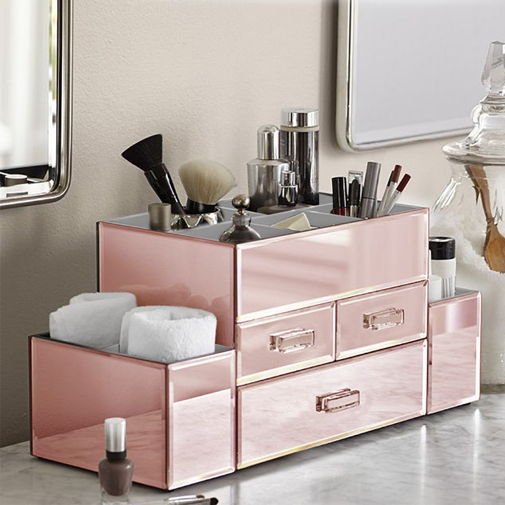 OnDisplay Amara 3 Drawer Tiered Rose Gold Mirrored Makeup/Jewelry Organizer - Walmart.com & OnDisplay Amara 3 Drawer Tiered Rose Gold Mirrored Makeup/Jewelry ...