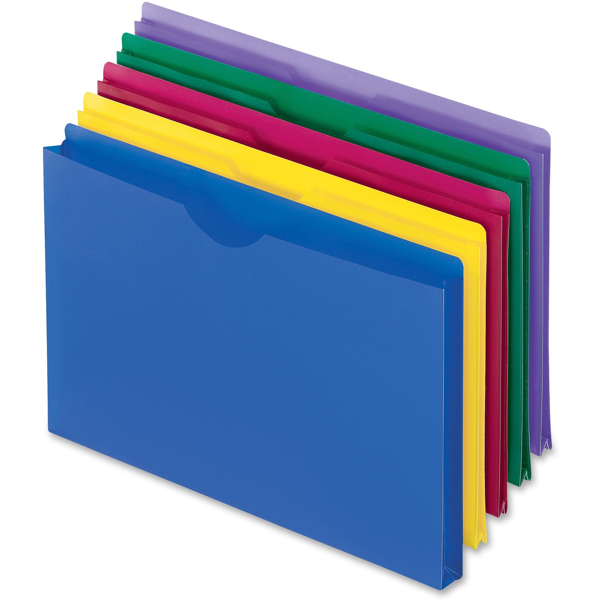 Pendaflex, PFX50993, Translucent Poly Legal-size File Jackets, 5 / Pack, Blue,Magenta,Yellow,Green,Purple