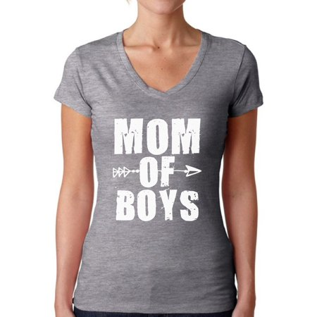 Awkward Styles Women's Mom of Boys Cute Motherhood V-neck T-shirt White Mother's Day (Cute Day Pl)
