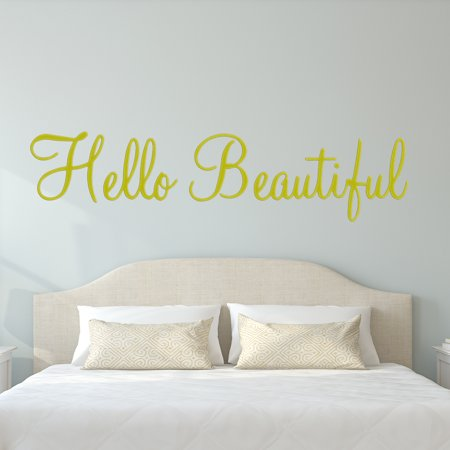VWAQ Hello Beautiful Wall Decal Inspirational Quotes Beauty Mirror Stickers #2 Version VWAQ-1656 (22