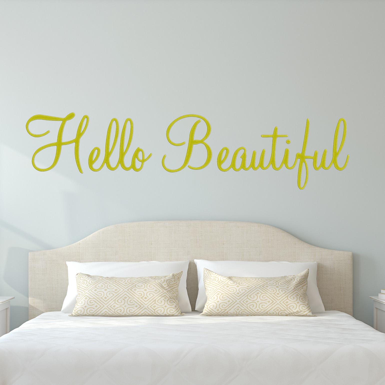 "VWAQ Hello Beautiful Wall Decal Inspirational Quotes Beauty Mirror Stickers #2 Version VWAQ-1656 (22""W X 6""H, Gold)"