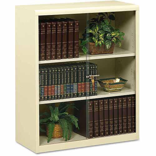 Tennsco Executive 3-Shelf Steel Bookcase With Glass Doors, Putty