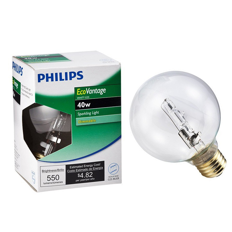 Philips EcoVantage 40W Globe G25 Decorative Clear Halogen Vanity Light Bulb