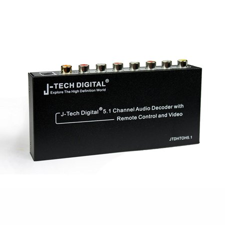J-Tech Digital 5.1 Channel Audio Decoder with Remote Control and Video, EQ mode, USB charging,