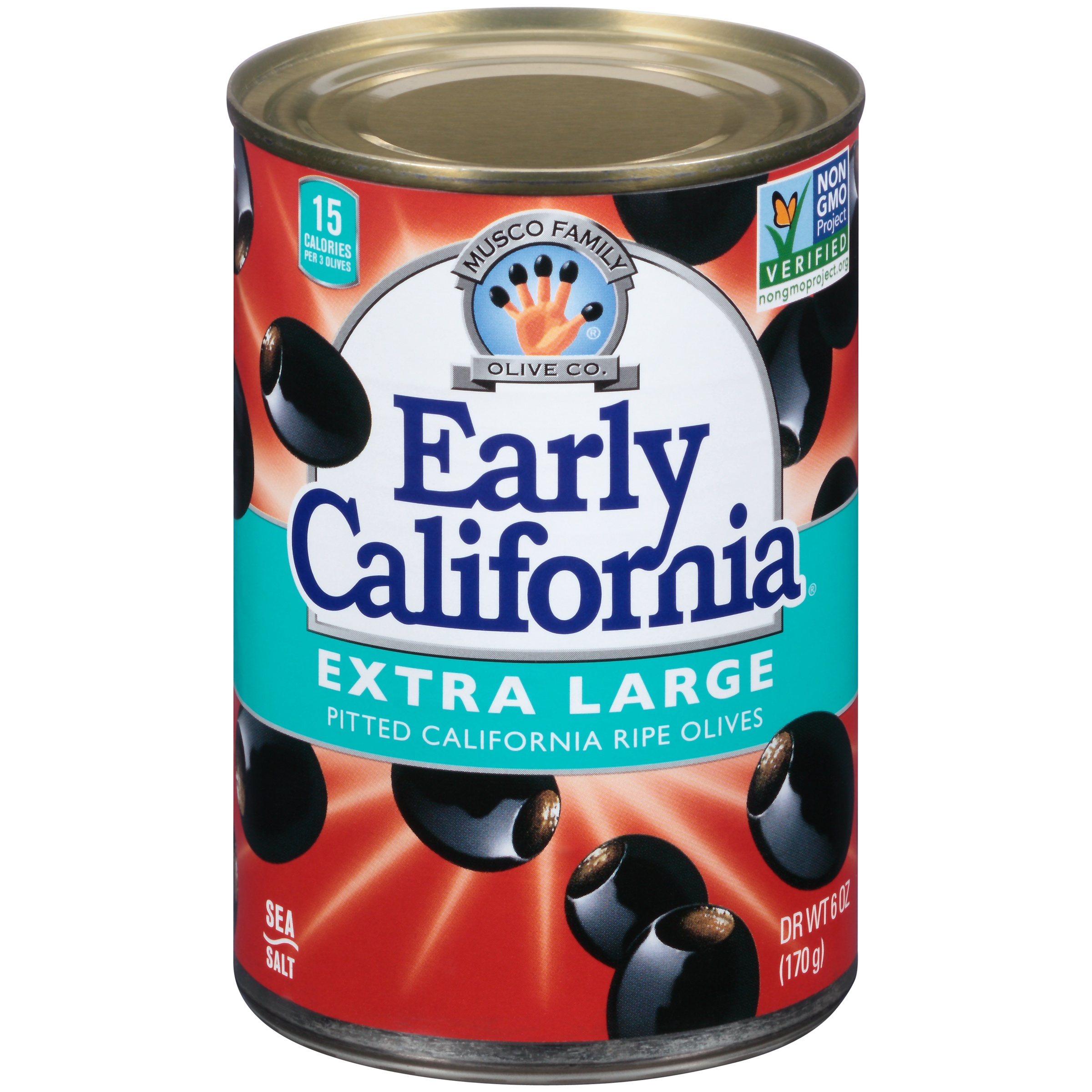 Early California Extra Large Pitted California Ripe Olives 6 oz. Can by Musco Family Olives Co.