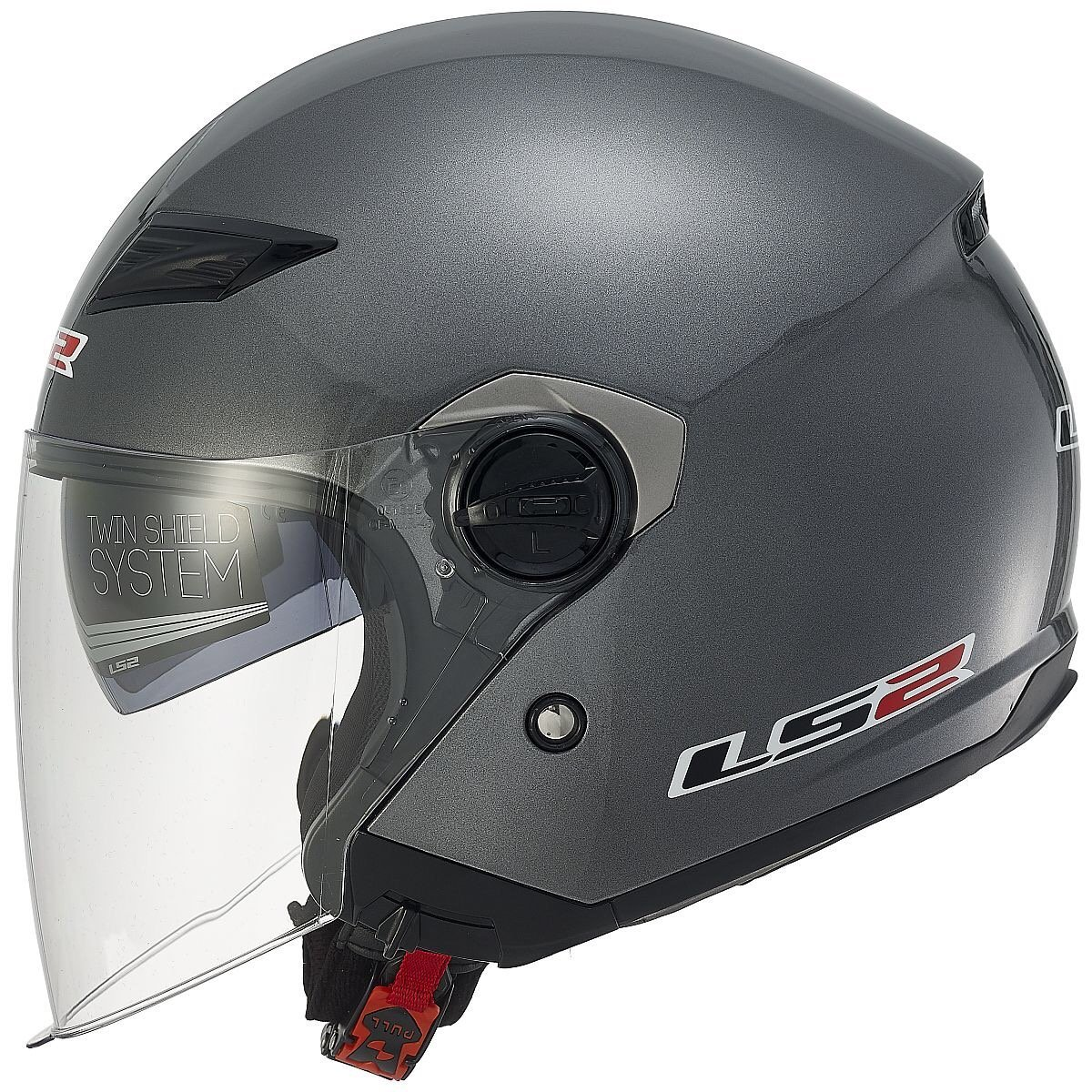 LS2 Helmets Track 569 Solid Open Face Motorcycle Helmet with Sunshield (Pearl White, Large)
