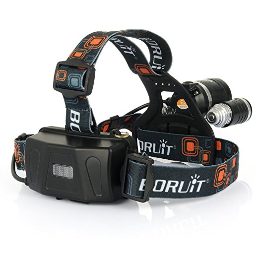 Boruit 3x CREE XM-L XML T6 LED 4000Lm Rechargeable Headlamp Headlight Head lamp + AC Charger