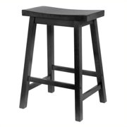"""Pemberly Row 24"""" Counter Saddle Seat Bar Stool in Black"""