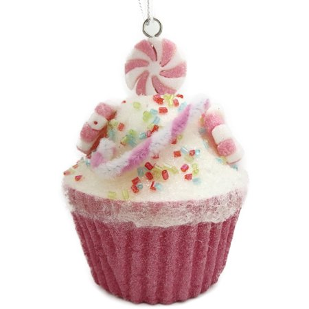 Holiday Time Christmas Ornaments 6 Piece Pink Glittered Candy Cupcake Ornament