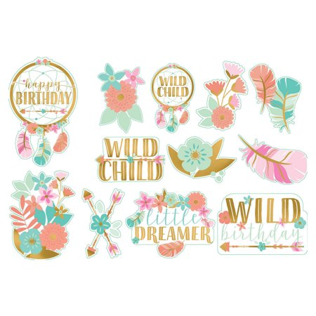 1st Birthday 'Boho Girl' Cutout Decorations (12pc)