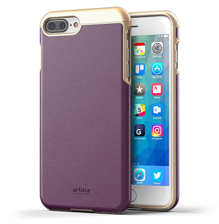 iPhone 7 Plus (5.5') Premium Vegan Leather Case - Artura Collection By Encased (Merlot Purple/Gold)