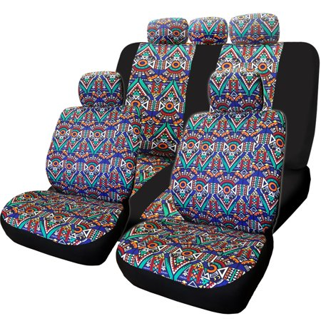 Yupbizauto Aztec Design Front and Rear Car Truck SUV Seat Covers Headrest Cover Full Set